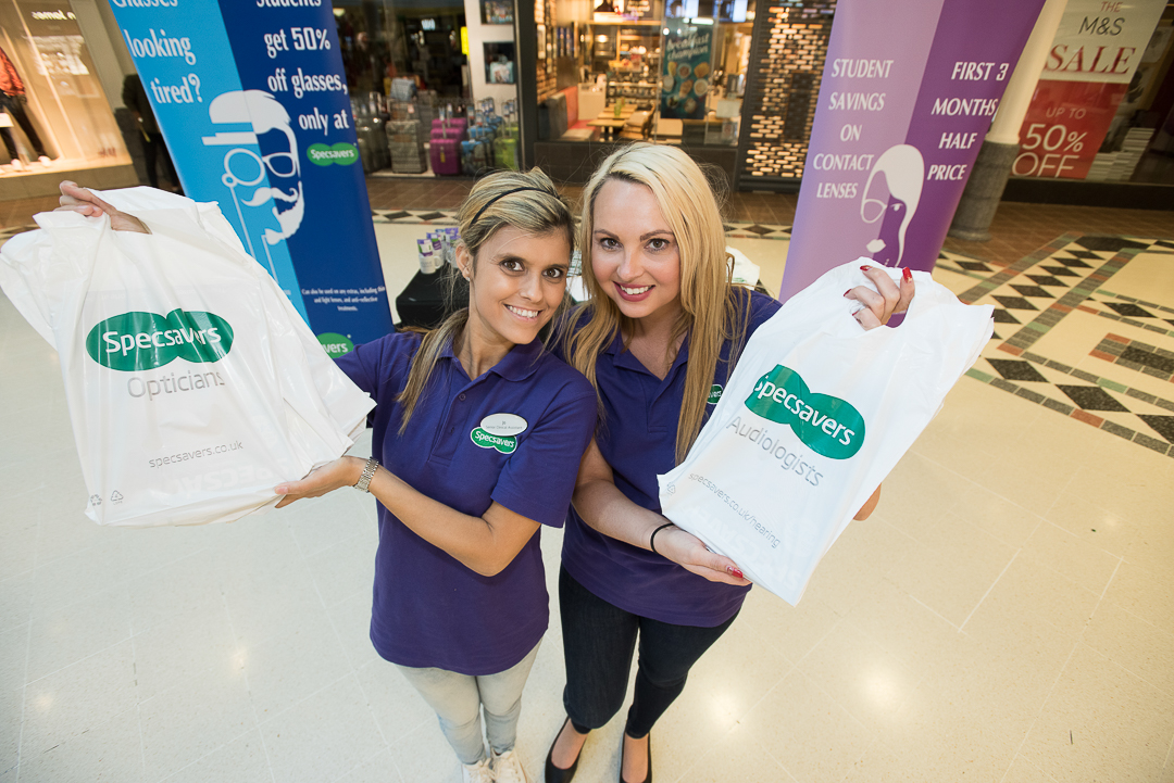 St George's Shopping Centre Student Lock-In event in Preston Joanne Bux and Jenna Chadwick from Specsavers